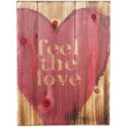 Feel the Love Textured Wood Wall Decor