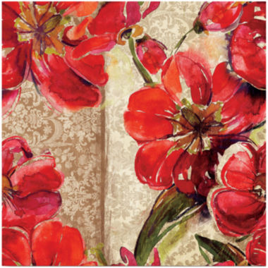 jcpenney.com | Red and Tan Flowers Canvas Wall Art