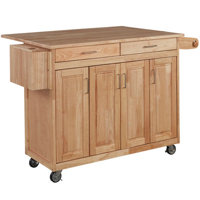 Wood Top Drop Leaf Rolling Kitchen Island With Towel Rack
