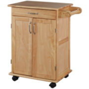 Rolling Wood Kitchen Cart with Towel Rack