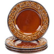 Certified International Solstice Set of 4 Brown Salad Plates