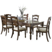 Tucker Hill Ladder-Back Whitewash Pine Dining Set