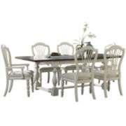 Tucker Hill Trestle Pine Dining Set with Dark-Finished Top