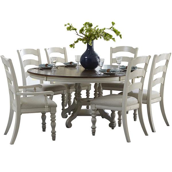 tucker hill wheat ladder back whitewash pine round dining set jcpenney. beautiful ideas. Home Design Ideas