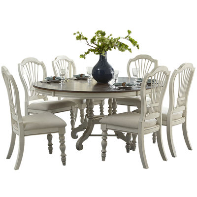Tucker Hill Wheat Whitewash Pine Round Dining Set