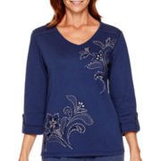 Alfred Dunner® Cape Hatteras 3/4-Sleeve Embroidered Top