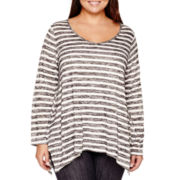 a.n.a® Long- Sleeve V-Neck Drape Tunic - Plus