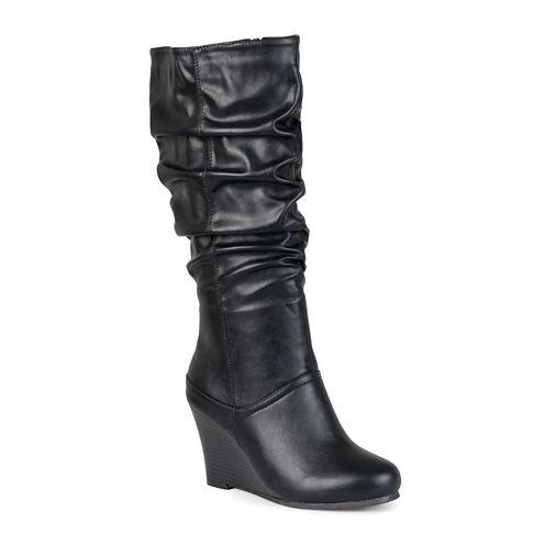 Journee Collection Hana Womens Slouch Wedge Heel Boots