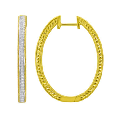 jcpenney.com | 1/3 CT. T.W. Pavé Diamond Two-Tone Hoop Earrings
