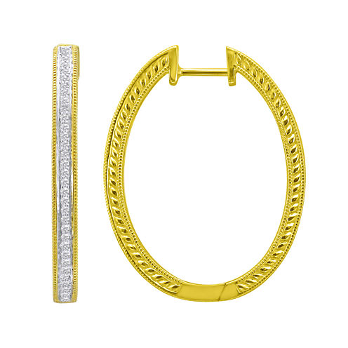 1/3 CT. T.W. Pavé Diamond Two-Tone Hoop Earrings