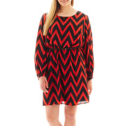 My Michelle® 3/4-Sleeve Belted Chevron Print Dress - Plus
