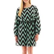 My Michelle® 3/4-Sleeve Belted Chevron Print Dress - Plus