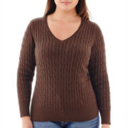 St. John's Bay® Long-Sleeve V-Neck Cable Sweater - Plus
