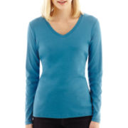 St. John's Bay® Long-Sleeve V-Neck Tee - Tall