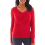 St. John's Bay® Long-Sleeve V-Neck Cable Sweater - Petite