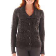 St. John's Bay® Button-Front Cable-Knit Cardigan - Petite