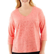 St. John's Bay® 3/4-Sleeve Jacquard Knit Tunic - Plus