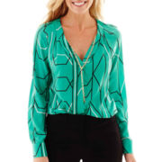 Worthington® Long-Sleeve V-Neck Blouse with Necklace
