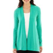 Worthington® Long-Sleeve Ribbed Open-Front Cardigan Sweater