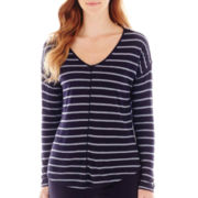 Liz Claiborne® Long-Sleeve Striped V-Neck Tee