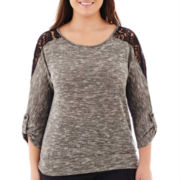 Alyx® 3/4-Sleeve Lace-Trim Space-Dye Banded Top - Plus
