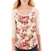 Arizona Raglan-Sleeve Floral Print Tee