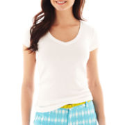 jcp™ Short-Sleeve Ribbed V-Neck Tee - Petite