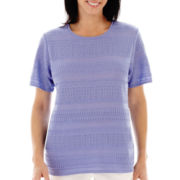 Alfred Dunner® Newport Short-Sleeve Solid Textured Biadere Sweater Shell