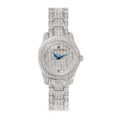jcpenney.com | Croton Womens Crystal-Accent Stainless Steel Bracelet Watch