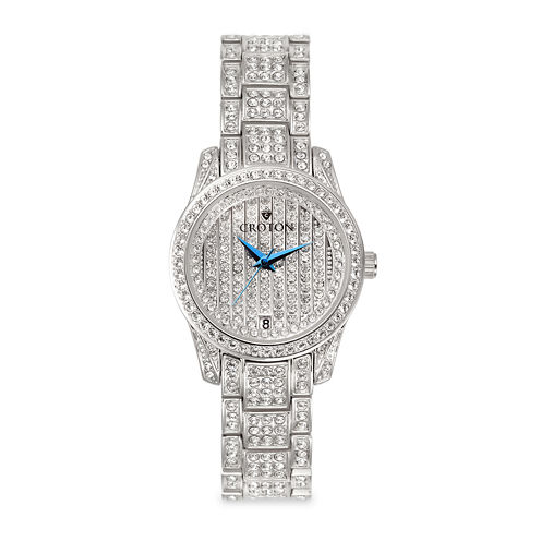 Croton Womens Crystal-Accent Stainless Steel Bracelet Watch