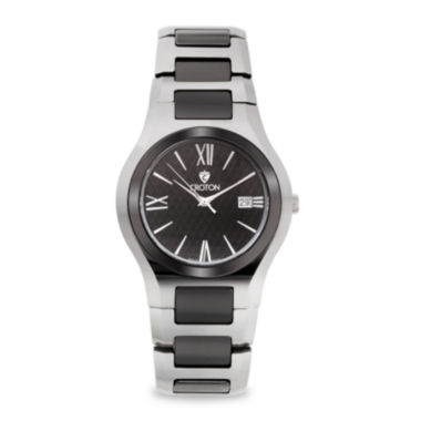 jcpenney.com | Croton Mens Black Ceramic Stainless Steel Watch