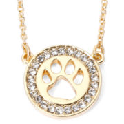 Pet Friends Crystal-Accent Paw Print Gold-Tone Circle Necklace