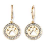 Pet Friends Crystal-Accent Paw Print Gold-Tone Leverback Drop Earrings