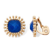 Monet® Gold-Tone Blue Cushion Clip-On Earrings