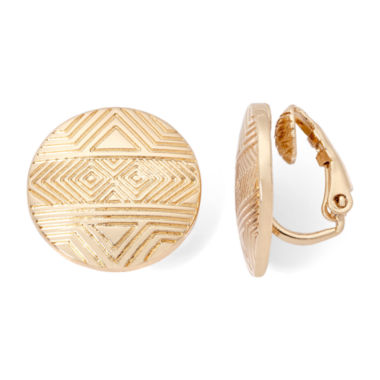 jcpenney.com | Liz Claiborne® Gold-Tone Textured Button Clip-On Earrings
