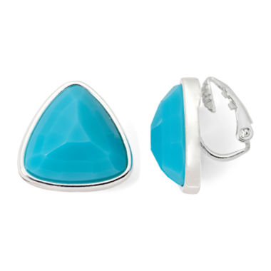 jcpenney.com | Liz Claiborne® Silver-Tone Simulated Turquoise Triangle Clip-On Earrings
