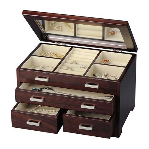 Brown Tea 3-Drawer Jewelry Box