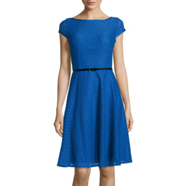 jcpenney.com | Black Label by Evan-Picone Cap-Sleeve Lace Fit-and-Flare Dress