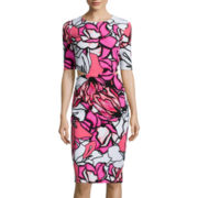 Bisou Bisou® Elbow-Sleeve Floral Cut-out Bodycon Dress