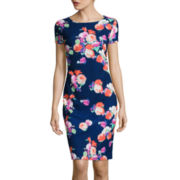 Fifth & Park Short-Sleeve Floral Sheath Dress