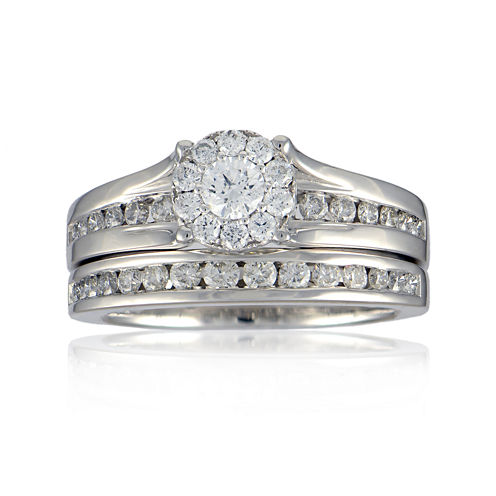 LIMITED QUANTITIES 1 CT. T.W. Diamond 14K White Gold Bridal Ring Set