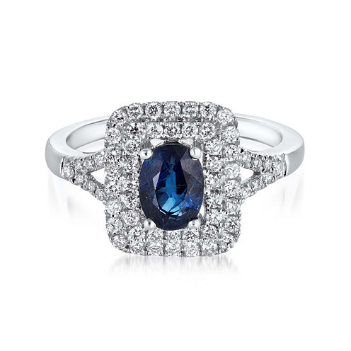 LIMITED QUANTITIES  Sapphire and Diamond 14K White Gold Ring