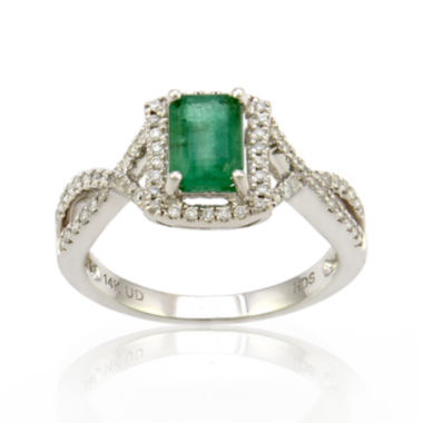 jcpenney.com | LIMITED QUANTITIES  Emerald and Diamond 14K White Gold Ring