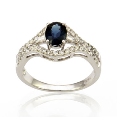 jcpenney.com | LIMITED QUANTITIES  Sapphire and Diamond 14K White Gold Ring
