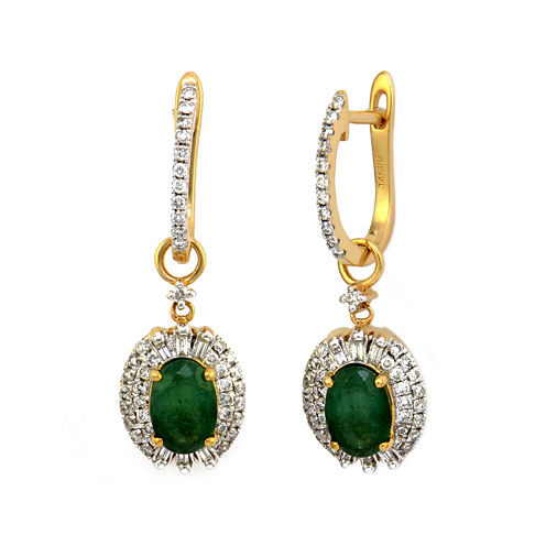 LIMITED QUANTITIES  Genuine Emerald and Diamond 14K Yellow Gold Drop Earrings