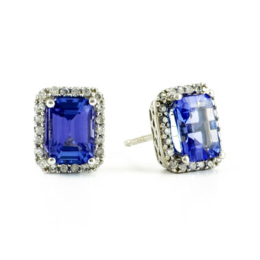 jcpenney.com | LIMITED QUANTITIES  Genuine Tanzanite and 1/5 CT. T.W. Diamond 14K White Gold Earrings