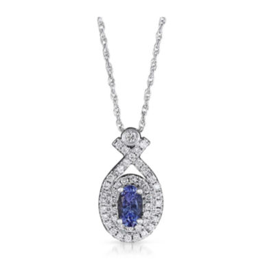 jcpenney.com | LIMITED QUANTITIES  Genuine Tanzanite and 1/5 CT. T.W. Diamond 14K White Gold Pendant Necklace