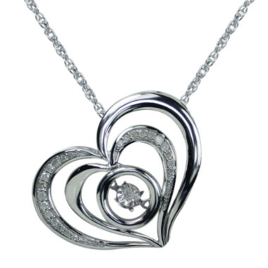 jcpenney.com |  Love in Motion™ 1/10 CT. T.W. Diamond Sterling Silver Heart Pendant Necklace
