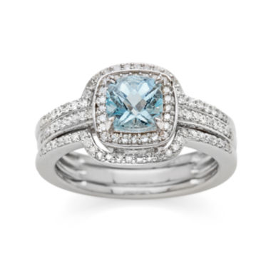 jcpenney.com | Genuine Aquamarine and 3/8 CT. T.W. Diamond 10K White Gold Ring