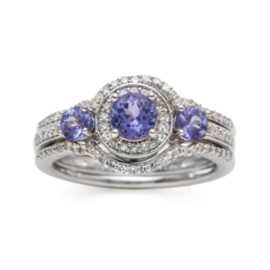 jcpenney.com | Genuine Tanzanite and 1/3 CT. T.W. Diamond Sterling Silver Ring
